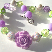 Spring Lime And Lavendar Chunky Beaded Necklace Toddler to Girls Fun Fashion Jewelry