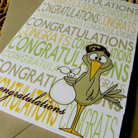 Baby Congratulations  Individual Folded Card by littletoad on Etsy