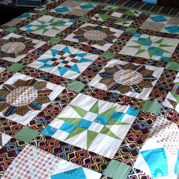 Retro Wild Color Sampler Quilt Top Ready for Quilting Queen Size