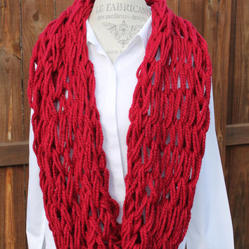 Women Arm Knit Scarf, Red Scarf, Red Neck-warmer, Infinity Scarf, Red Chunky Cowl, Red Knit Scarf