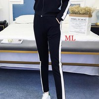 """""""Adidas"""" Women's Leisure Fashion Letter White border Printing Long Sleeve Trousers Two-Piece Sportswear"""