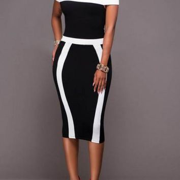 Black-White Patchwork Bandeau Boat Neck Off-shoulder Bodycon Prom Party Midi Dress