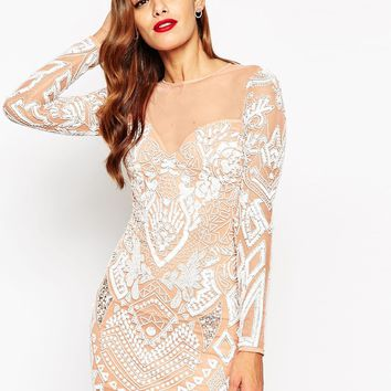 ASOS RED CARPET Ergonomic Embellished Mini Bodycon Dress