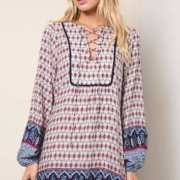 Chevy Lace Up Bohemian Dress - FINAL SALE!