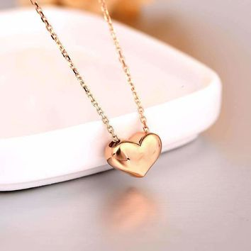 Robira Solid Color Simple Heart Necklaces Pendants Jewelry For Women 18K Rose Gold Lover Wedding Gift