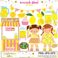Lemonade stand for girls  Clipart, blue Lemonade Party, Summer Party, little girls, mason jar, Summer, picnic, Commercial-Personal Use