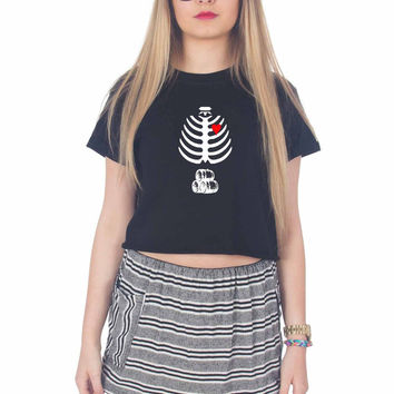 Beer Inside Xray Man For Womens Crop Shirt ***