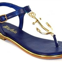 Anchor Away Sandals - Navy