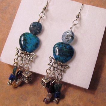 Turquoise and Blue Shell Bead Earrings with Dangles
