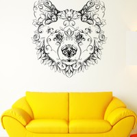 Wall Vinyl Sticker Decal Bear Head Animal Flower Character Patterns Arts Unique Gift (ed411)