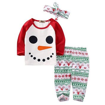 Xmas Newborn Baby Boys Girls Long Sleeve Cotton Clothes Outfits Set Baby Clothing Autumn Winter