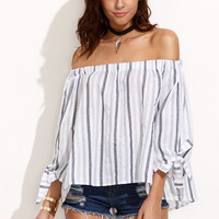 Off The Shoulder Vertical Striped Blouse