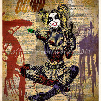 Harley Quinn splatter art, Harley Quinn pinup, Retro Super Hero Art, Dictionary print art