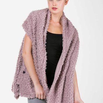 Shaggy Fur Convertible Vest and Shawl