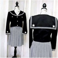Sailor top size M / Cropped jacket / vintage 80s nautical jacket / black military style top