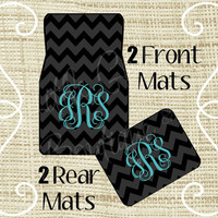 Custom Personalized Set of Car Floor Mats - Front and or Rear Back, Monogrammed Car Mats, Chevron Black, Tiffany Blue