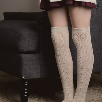 Herringbone Boot Socks - Ivory