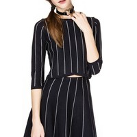 Turn Up Striped Two Piece Dress Set