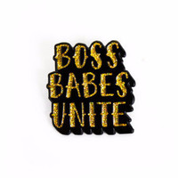 Boss Babes Unite Enamel Pin in Gold Glitter