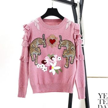 Women's Leopard Ruffle Embroidery Knitted Pullover Sweater