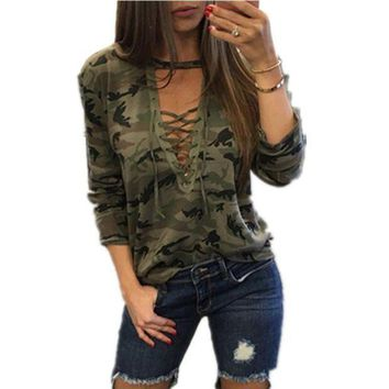 PEAPGC3 Sagace Camouflage Print Women Long Sleeve Slim T-Shirt Fashion V-Neck Lace-up Lady Sexy Tops Army Style Casual Female TShirt Tee