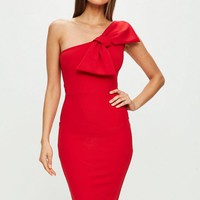 Missguided - Red One Shoulder Bow Detail Dress