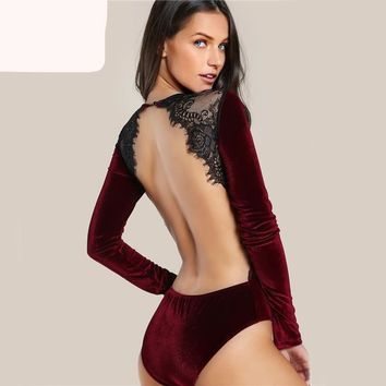 Burgundy Velvet Backless Women Bodysuit Lace Elegant Applique Long Sleeve Vintage