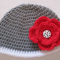 Crochet Baby Girl Hat with Flower. FREE SHIPPING. Grey with White Trim Crochet Flower Beanie with Choice of Buttons. Size 6 - 9 months.