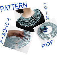 "Tatting pattern PDF Collar Necklace ""Caribbean Sea"",  PDF digital instant download tutorial,  shuttle tatting,  frivolite , chiacchierino"