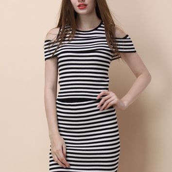 Trendy Stripe Knitted Top and Skirt Set
