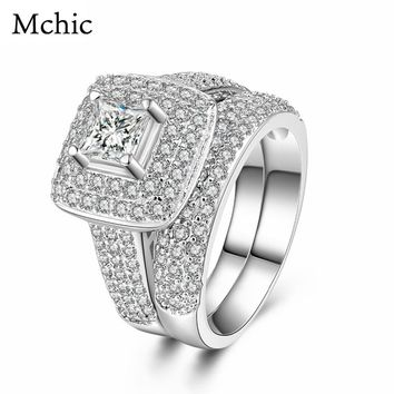 Mchic Romantic Luxury Cubic Zirconia Jewelry Engagement Ring Set Exquisite Big Crystal Round Bridal Sets Rings For Women Wedding