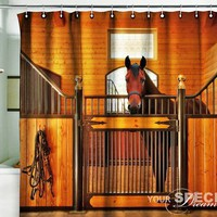 """Shower Curtain horse stole stable country 71x71""""(180x180cm)"""