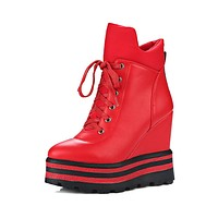 Pointed Toe Lace Up Platform Boots Wedge Heels Shoes 6234