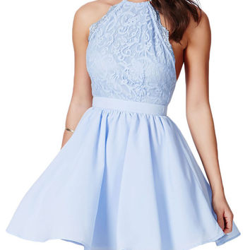 Baby Blue Cross Back Lace Detail-Party Skater Dress
