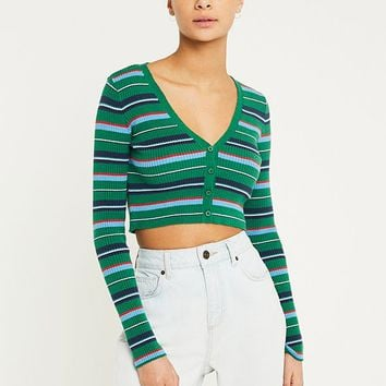 UO Rainbow Stripe Crop Cardigan | Urban Outfitters
