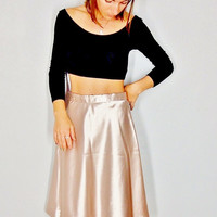 Champagne Skirt, Rose Gold Shiny Holiday Midi Skirt, Small xs, Thanksgiving Outfit Christmas Outfit
