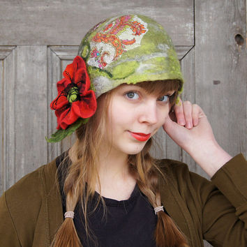 Unique felted cloche hat, retro style hat, green black maroon with poppy flower and green leaves. OOAK