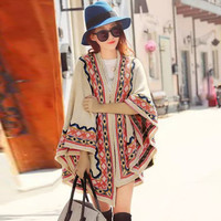 National Wind Printing Open Front Batwing Cardigan