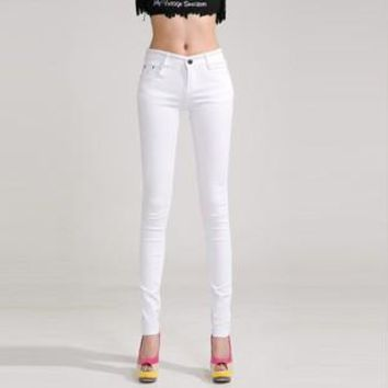 Mid Waist Full Length Stretch Skinny Jeans