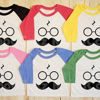 S, M, L -- Kids T-Shirt Mustache Shirt Pott Head Shirt Harry Potter Shirt Long Sleeve Tee Unisex T-Shirt Women T-Shirt Raglan Baseball Shirt