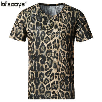 BFSBOYS 2017 Men's Clothing Cotton and Silk Leopard Print Slim O-neck Short-sleeve Adventure Time Male T-shirt Clothes SIZE 5XL