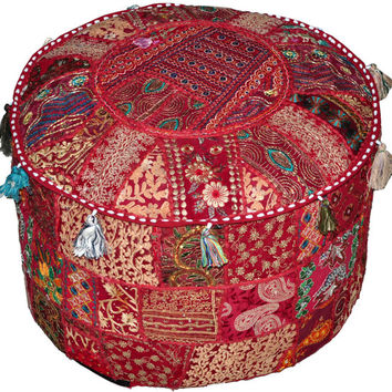 Bohemian Patchwork Pouf Ottoman in Red/Maroon/Burgundy Vintage Indian Pouf ottoman, bohemian pouffe pouffes Foot Stool Floor Pillow seating