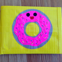 Happy Donut Duct Tape Wallet - Yellow Bifold