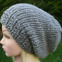 Hand Knit Hat - Unisex hat- charcoal grey slouchy- beanie hat for men or women