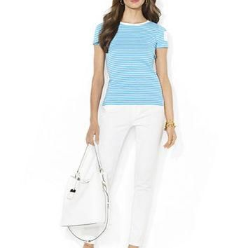 Lauren Ralph Lauren Petite Striped Pocket Tee