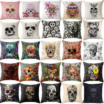 Pillowcase Punk Bohemia Paisley Skull Cushion Cover Cotton Linen Size 40*40 Printed Throw Pillows