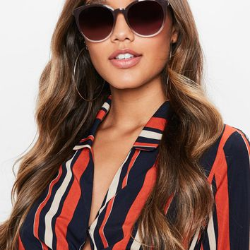 Missguided - Pink Circular Thick Sunglasses