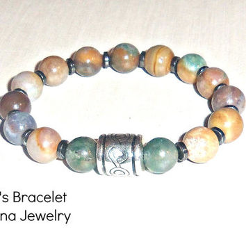 "Men's Bracelet: Genuine Jasper,&  Hematite ""The Joy of Getting to Know Yourself"""