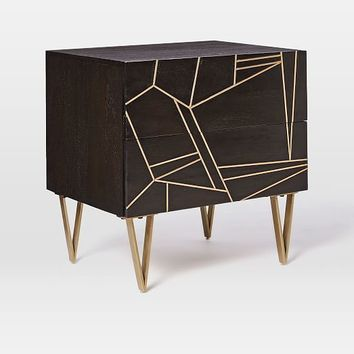 Roar + Rabbit Brass Geo Inlay Nightstand - Ebony