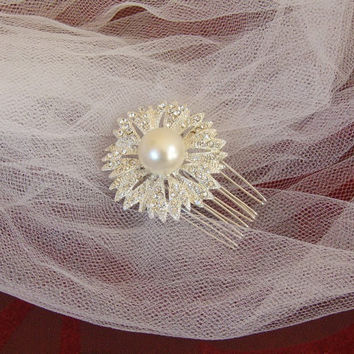Sunburst Pearl and Rhinestone Bridal Hair Comb, Bridesmaid Hair Comb, Wedding Comb, Hair Pin